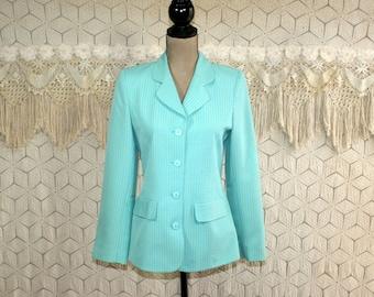 80s 90s Mint Blue Gingham Blazer Women Small Petite Spring Jacket Size 6 Francess Erita Vintage Clothing Womens Clothing