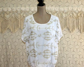 Womens Dolman Sleeve Top White Peasant Blouse Hippie Bohemian Gold Metallic Embroidered Oversized Shirt Medium Large Womens Clothing