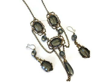 Czech Glass Jewelry Set, Vintage Art Deco 1920s 1930s Set, Faux Smoky Topaz Necklace and Earrings, Costume Jewelry, Demi Parure