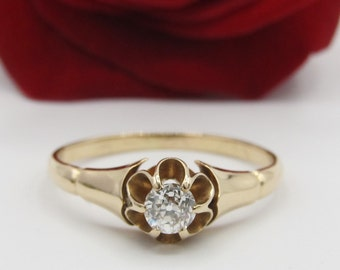 Antique Victorian Old European Cut Diamond Engagement Ring 14k Yellow Gold/ 0.15ct Solitaire/ Vintage Edwardian