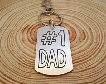 Number 1 Dad Engraved Key Chain | Father's Day Present | Gift for Dad | Gift from Kids | Gift from Children