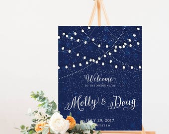 Navy Wedding Signs Welcome, Welcome to Our Wedding Sign, Welcome Wedding Sign, Custom Wedding Sign