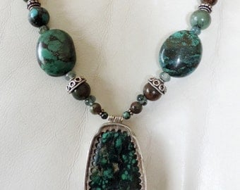 Turquoise necklace, MOSS agate, prehnite, Jasper and 925 sterling silver. #TURneck1