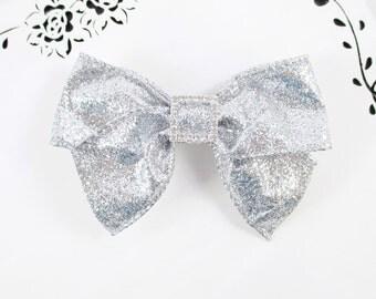 Silver Glitter Hair Bow, Large Hair Bow, 3 or 4 Inch Silver Hair Bow, Rhinestone Hair Bow, Glitter Bow, Silver Hair Bow