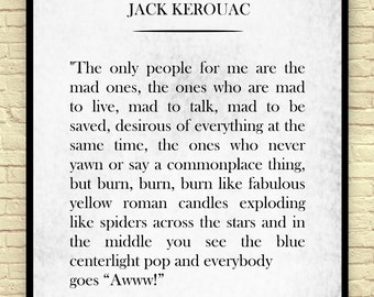 Classic Book Page, Jack Kerouac, Jack Kerouac Quote, Vintage Book Page, Book Wall Art, Book Page Art Print, Gift for Book Lovers