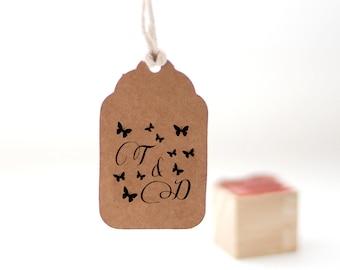 Custom monogram stamp, Custom wedding stamp, Butterfly stamp, Personalized Valentines day stamp, Custom stamp 1x1 inch small stamp- W40