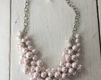 blush pink chunky pearl necklace, cluster pearl bridesmaid necklace, statement necklace, bib necklace, bridesmaid necklace