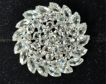 Christian Dior Sterling and Crystal brooch
