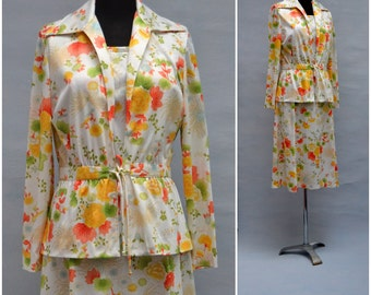 Vintage dress ensemble, 1970's two piece dress and jacket in pretty floral printed design, Ladies summer dress suit, Formal daywear