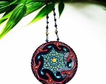 Vintage Czech Glass Necklace,Art Deco Jewelry,Glass Pendant,Vintage Statement Necklace,Vintage Jewelry,Czech Glass Jewelry,Edwardian Jewelry