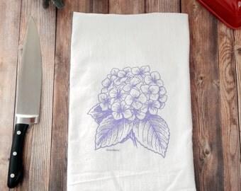 Purple Hydrangea Flower Tea Towel