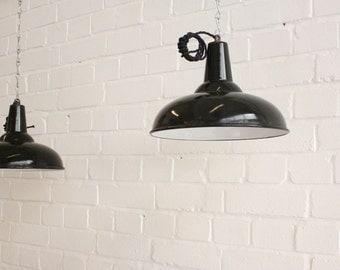Industrial Black Enamel Pendant Lights Circa 1930's