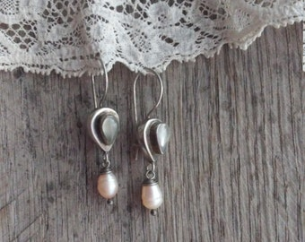 Sterling Silver Moonstone & Freshwater Pearl Drop Earrings