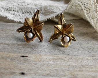Antique Gold Washed Silver Orchid Earrings