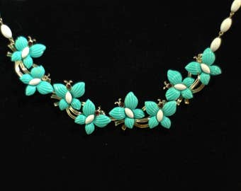 Vintage 1950s Necklace. Vintage Teal Butterfly Necklace with Faux Ruby Eyes