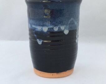 Pottery cup, Black and blue mug, ceramic wine cupg, unique pottery cup,  handmade stoneware pottery, wheel thrown made in North Carolina