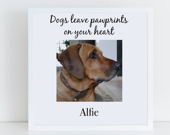 Pet Photo Frame, Dogs Leave Pawprints On Your Heart, Personalised Pet Memorial Frame, Dog Photo Frame, Pet Loss Frame, Personalised Frame