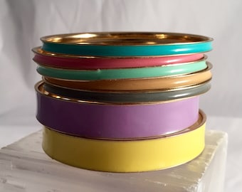 Vintage 1980s colorful bangle bracelet set. 6 pieces, 4 skinny, 2 thick, 1 low price! Bright yellow, lavender, teal, mint, pink, gray, peach