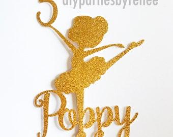 Ballerina Name Age Cake Topper - Child Ballet Cake Topper - Ballet Theme Birthday - Ballerina Party - Baby Ballerina - Child Ballerina