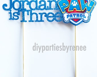 Paw Patrol Name Age Cake Topper - Paw Patrol - Paw Patrol Party - Customised Cake Topper