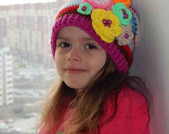 Kids Hat  Crochet hat. Multicolor hat. Girl hat. Color world. Flower colorful. Hat for girl. Costume party. Perfect hat