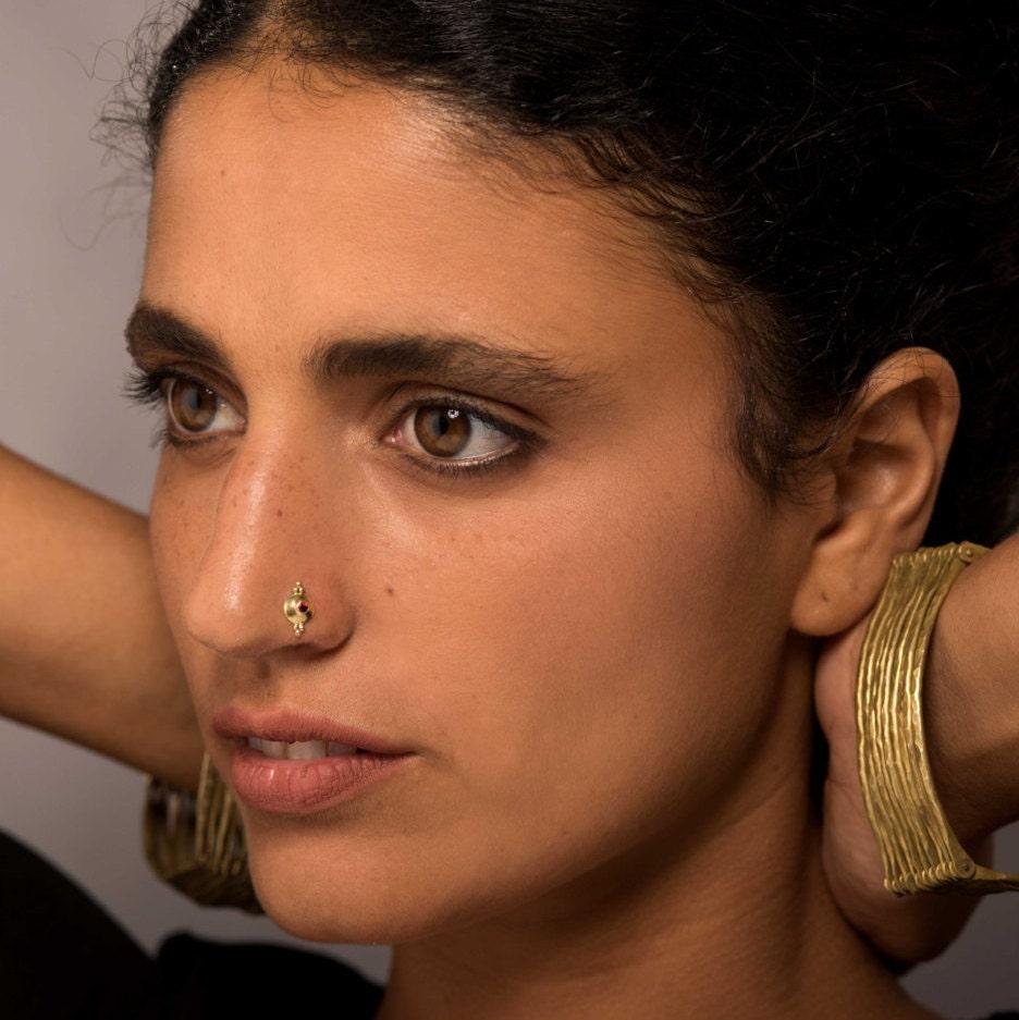 Gold Nose Stud Indian Nose Stud Nose Piecing Tribal Nose