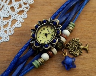 Retro Flower Watch, Lady Bracelet Dark Blue Watch, Wristwatch