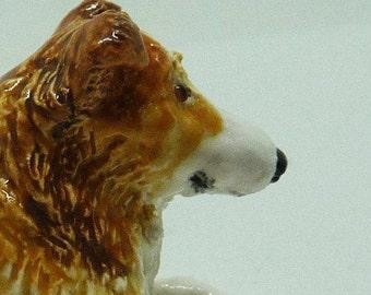 Miniature porcelain Rough Collie Sculpture