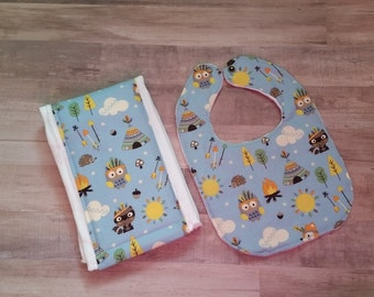 Bib and burp cloth set, boy bib set, baby shower gift, tribal, blue