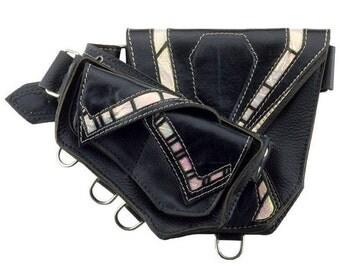 "Leather Festival Belt ""Chimera""- unicorn- Pocket Belt - Utility Belt - Belt With Pockets - Leather Belt - Hip Bag - Fanny Pack"