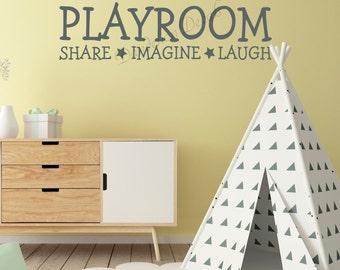 Playroom Wall Decal, Share Imagine Laugh, Kids Room Wall Decal, Playroom Wall Decor, Vinyl Lettering
