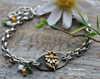 Dainty Daisy Bracelet, Wild Flower Bracelet, Daisy Jewelry
