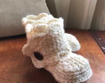 UGG style Sparkle Baby Booties with Scalloped Edge