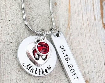 Valentines Day Gift for Mom - Personalized Mom Necklace - Gift from Child - Moms Birthstone Necklace - First Time Mom- Hand Stamped Necklace