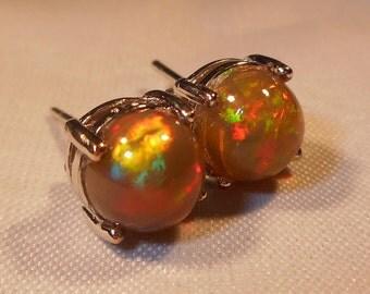 Natural Ethopian Fire Opal Stud Earrings|Honey Comb Brown Welo Opal Stud Earrings|8mm Sterling Silver Studs|October Birthstone Jewelry