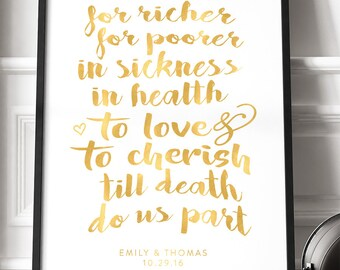 Gold Traditional Wedding Vows Poster