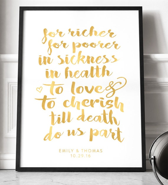 Gold Traditional Wedding Vows Poster Gifts For Men