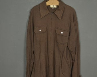 Vintage 70s long sleeves brown polo for men Spinnakershirt