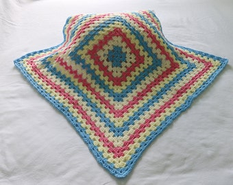 Hand made crochet baby blanket - blue and pink
