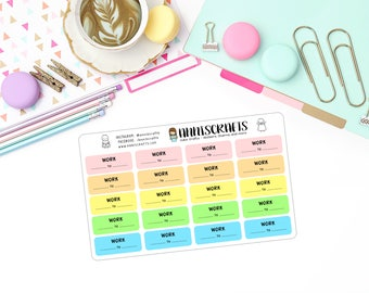 Rainbow Work Planner Stickers Schedule Rota Write Header Stickers Erin Condren Filofax Planner Addict United Kingdom anniscrafts UK AC32