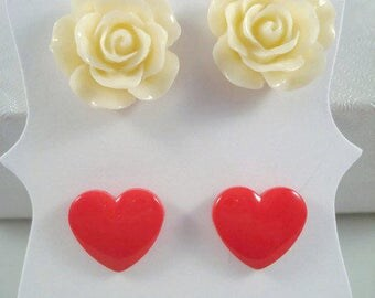 Hearts And Roses Earring Set