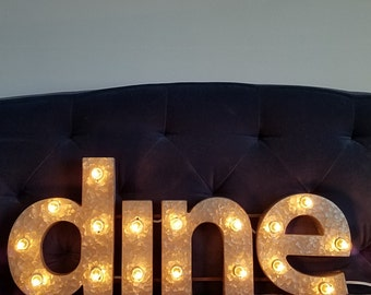 Dine Metal Lowercase Light Up Marquee Sign Kitchen Dining Decor