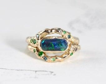 Opal wedding ring set Etsy