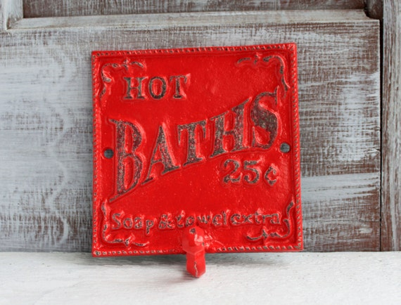 Bathroom Wall Decor Red : Bathroom sign wall hook red decor rustic cast