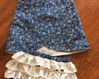 Beautiful handmade baby reversible top and ruffle bloomer set. Baby gift 100% cotton
