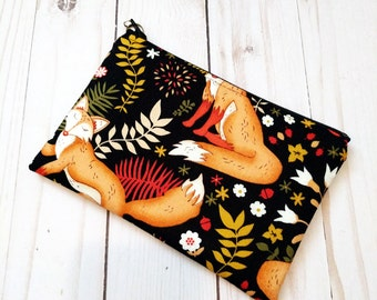 Fox Black Small Zipper Pouch
