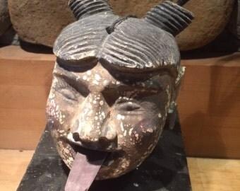 """Burmese Burma Puppet Marionette wooden head Large Horsehair  6"""" high"""