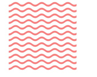 Wavy Lines Stencil, Thin Wavy Lines Cookie Stencil, Curved Lines Stencil, Curved Lines Cookie Stencil, 5.5 x 5.5, Wavy Lines Cake Stencil