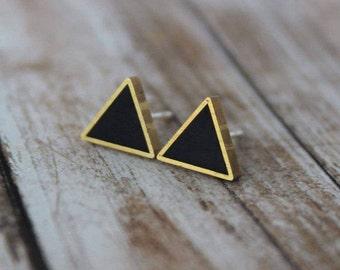 Black Triangle Brass Stud Earrings, Black Polymer Clay, Black Studs, Brass Framed Studs, Triangle Earrings