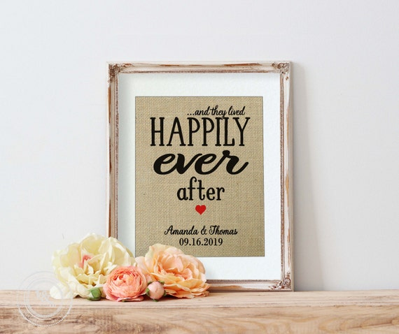 Happily Ever After Burlap Print Personalized Wedding Gift For
